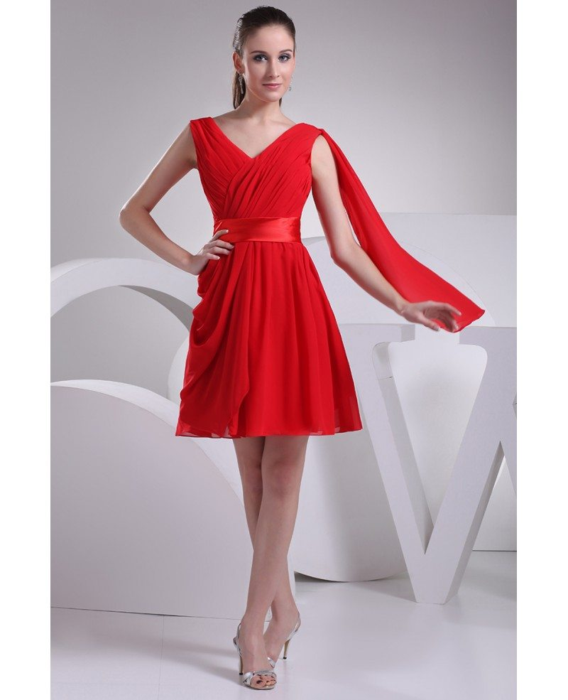 Red pleated chiffon short bridesmaid dress with sash op4183 90 red pleated chiffon short bridesmaid dress with sash ombrellifo Choice Image