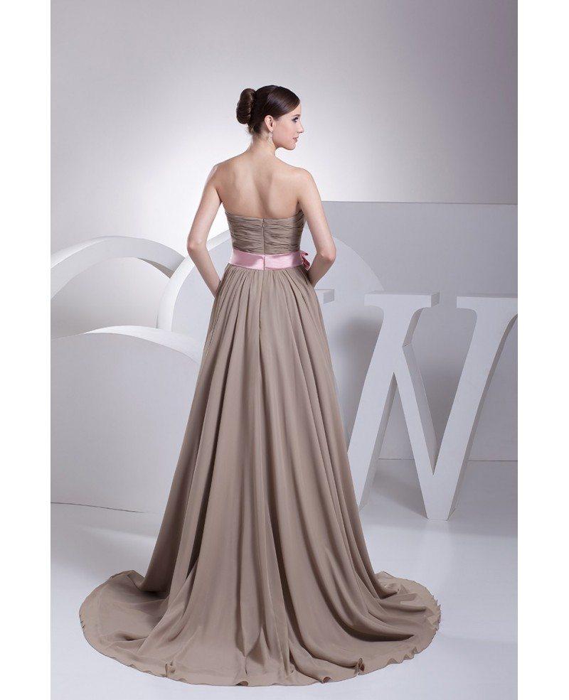 Chiffon Wedding Dresses: Brown And Pink Sash Long Chiffon Wedding Dress Custom
