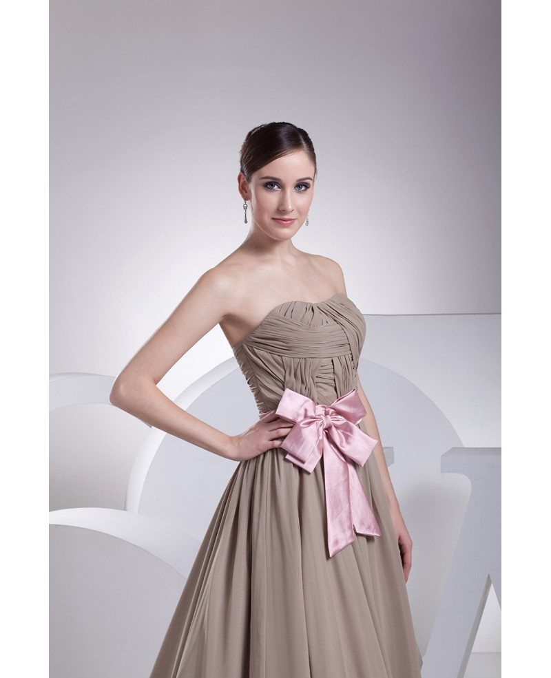 Brown and pink sash long chiffon wedding dress custom for Brown dresses for wedding