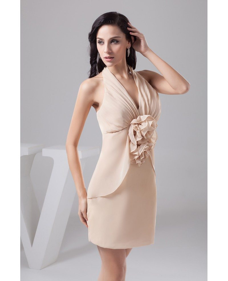 Sheath halter short chiffon bridesmaid dress op41114 103 for Short sheath wedding dress