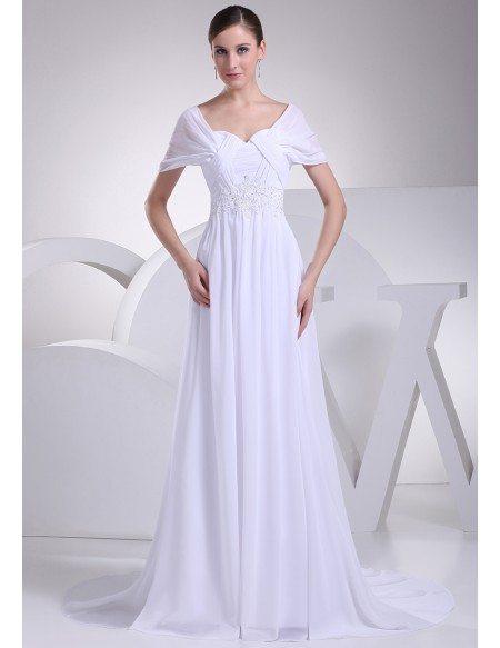 Beaded empire waist long chiffon white wedding dress with for Chiffon wedding dress empire waist