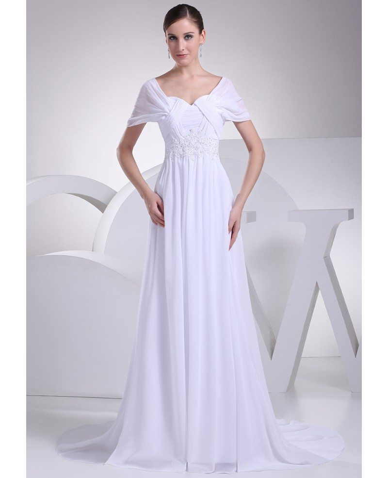 Beaded Empire Waist Long Chiffon White Wedding Dress with Sleeves ...