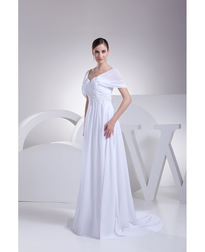 White Wedding Espa L: Beaded Empire Waist Long Chiffon White Wedding Dress With