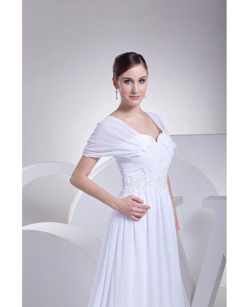 Beaded empire waist long chiffon white wedding dress with for Empire waist wedding dress with sleeves