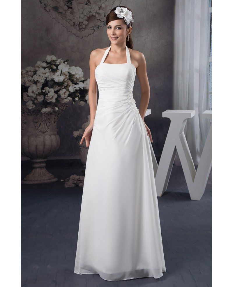 Wedding Dresses: A-line Halter Floor-length Chiffon Wedding Dress #OP41130