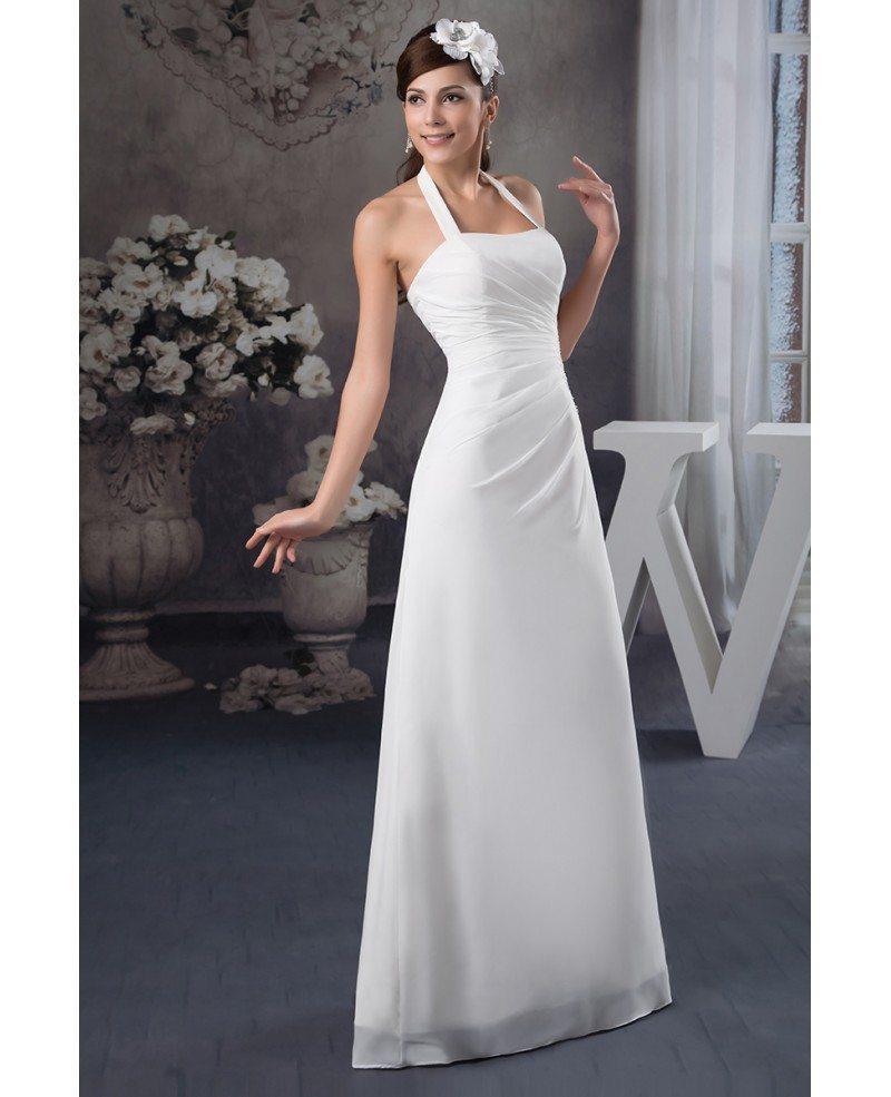 Halter Style Wedding Gowns: A-line Halter Floor-length Chiffon Wedding Dress #OP41130