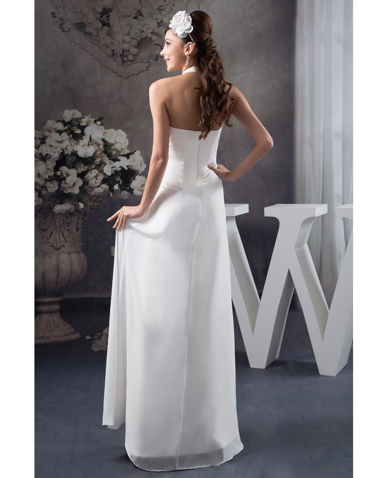 Blood Pool Halterneck Wedding Gown: A-line Halter Floor-length Chiffon Wedding Dress #OP41130