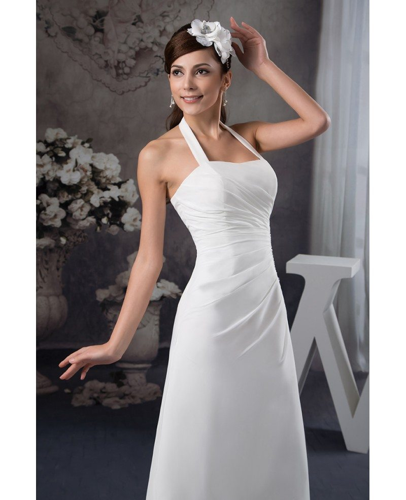 A line halter floor length chiffon wedding dress op41130 for Aline halter wedding dresses