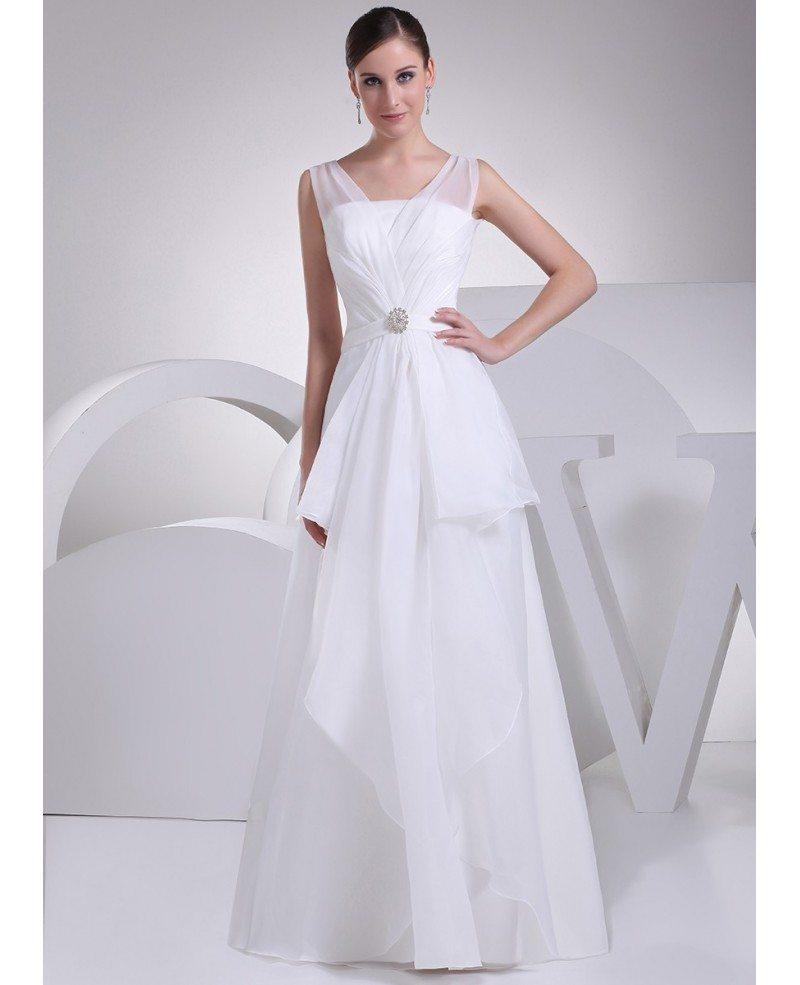 Elegant Organza Straps Long Wedding Dress With Ruffles