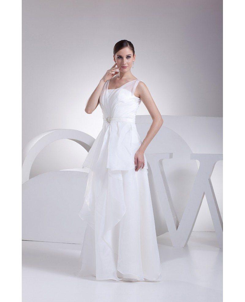 Elegant Organza Straps Long Wedding Dress with Ruffles #OP4197 ...