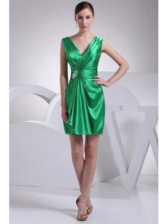 V-neck Pleated Green Satin Short Bridesmaid Dress