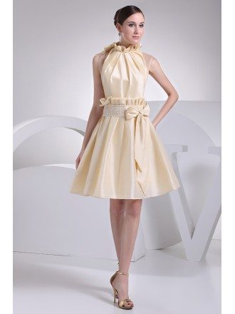 Chic High Neckline Champagne Taffeta Bridal Party Dress with Bow