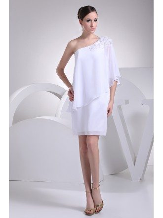 Beaded One Shoulder White Chiffon Short Bridal Dress