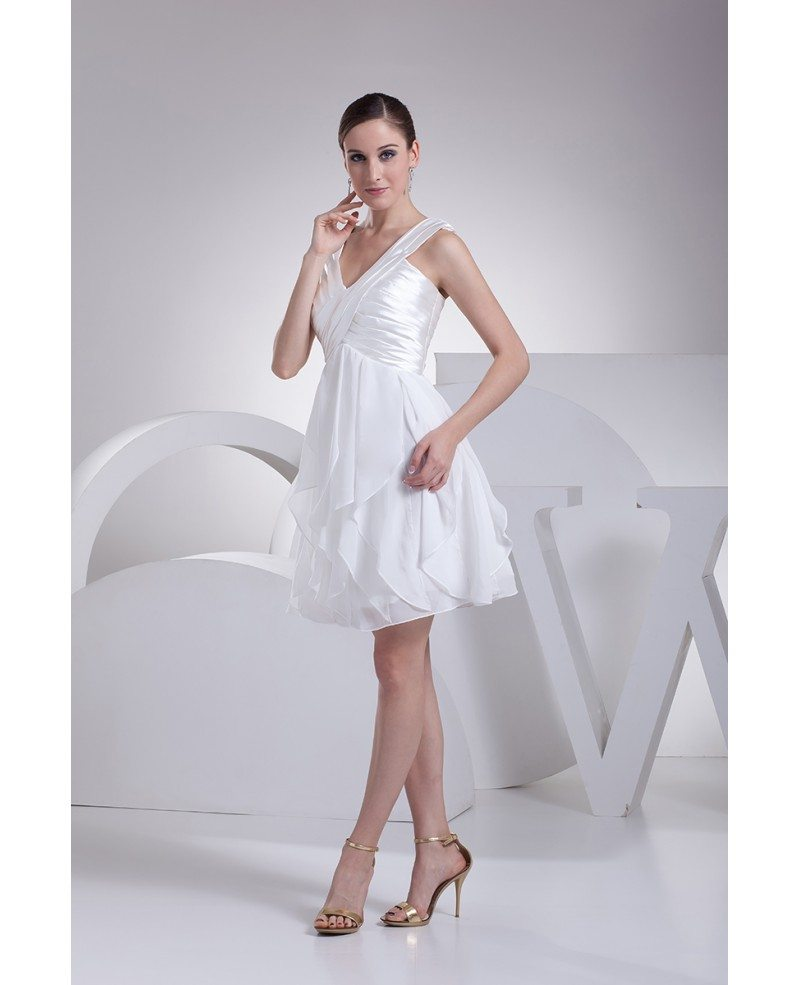 Cheap Short Wedding Dresses With Straps Satin With Chiffon
