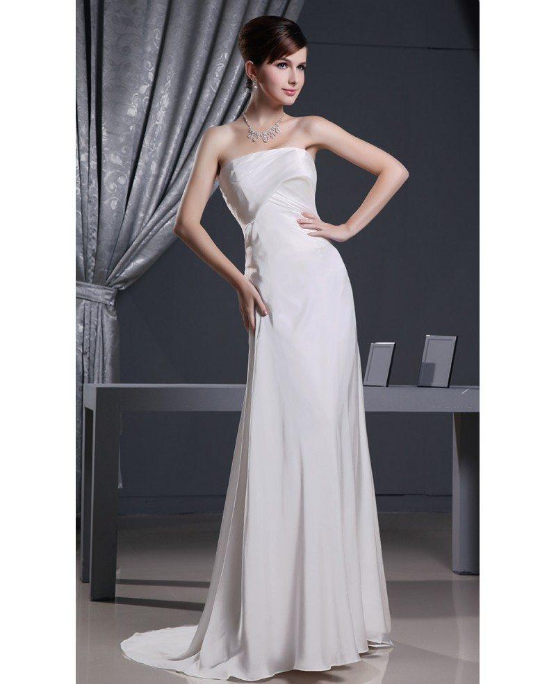 Sheath strapless sweep train satin chiffon wedding dress for Sheath chiffon wedding dresses