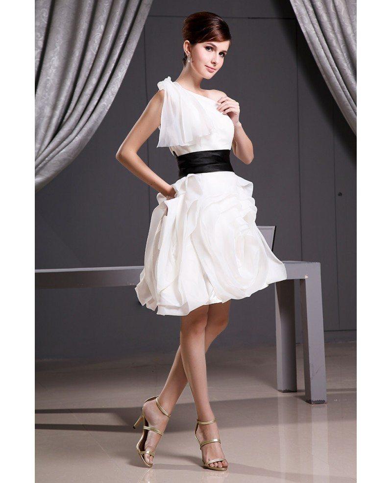 Modern White And Black Short Wedding Dresses A-line One