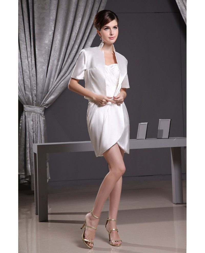 Sheath sweetheart short satin wedding dress op3009 149 1 for Short sheath wedding dress
