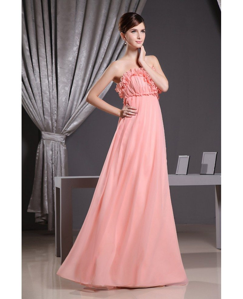Empire Strapless Floor-length Chiffon Bridesmaid Dress