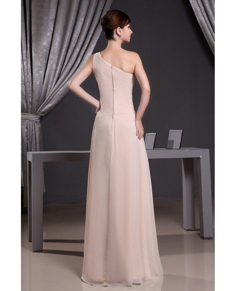 A-line One-shoulder Floor-length Chiffon Wedding Dress