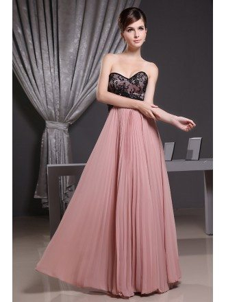 A-line Sweetheart Floor-length Lace Chiffon Bridesmaid Dress