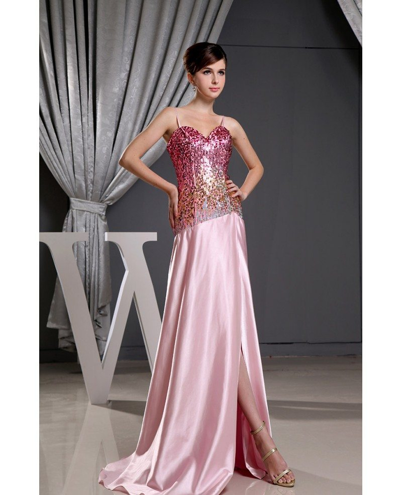 Sheath Sweetheart Floor Length Satin Prom Dress With