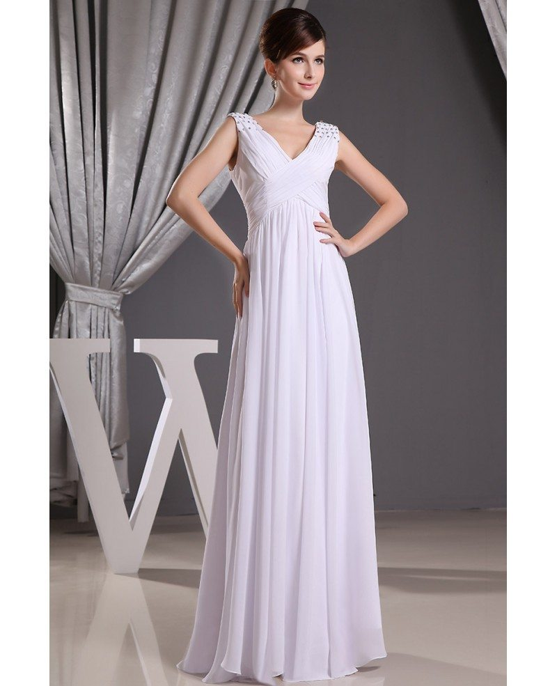 Wedding Gown Chiffon: Empire V-neck Floor-length Chiffon Wedding Dress With