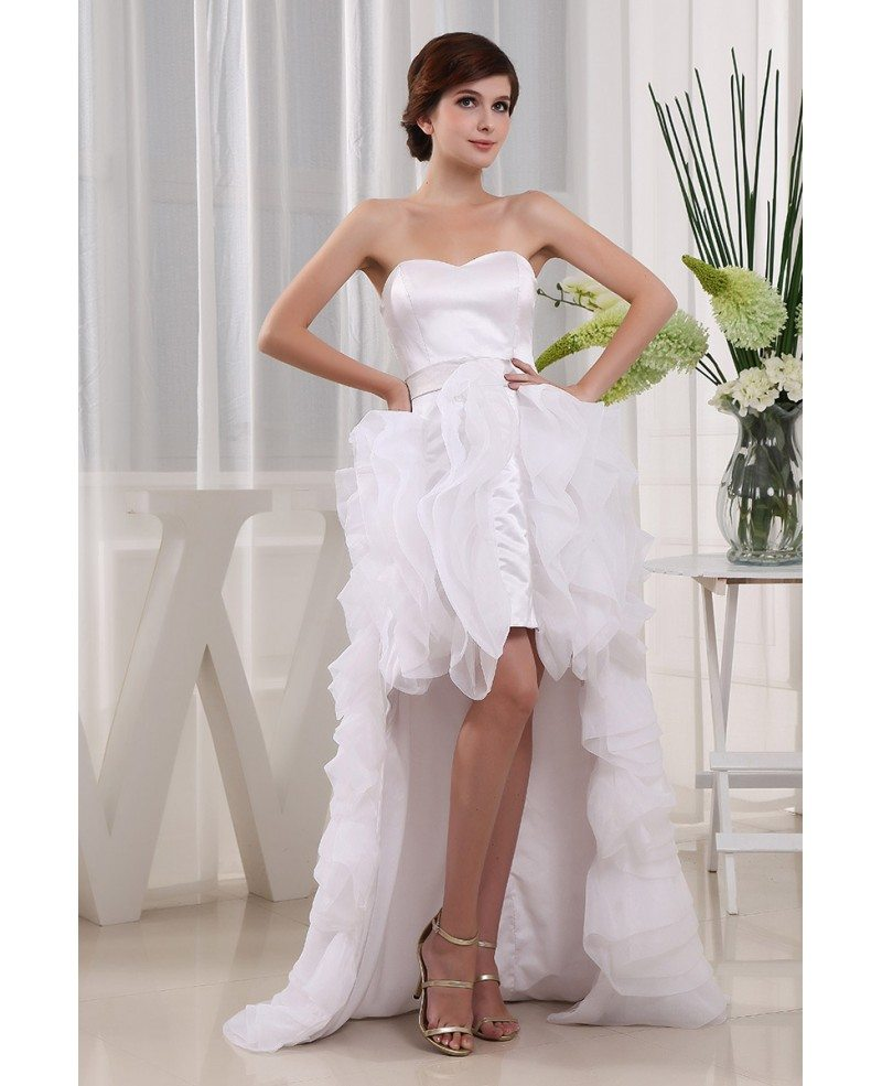 Asymmetrical Wedding Gown: A-line Sweetheart Asymmetrical Tulle Wedding Dress With