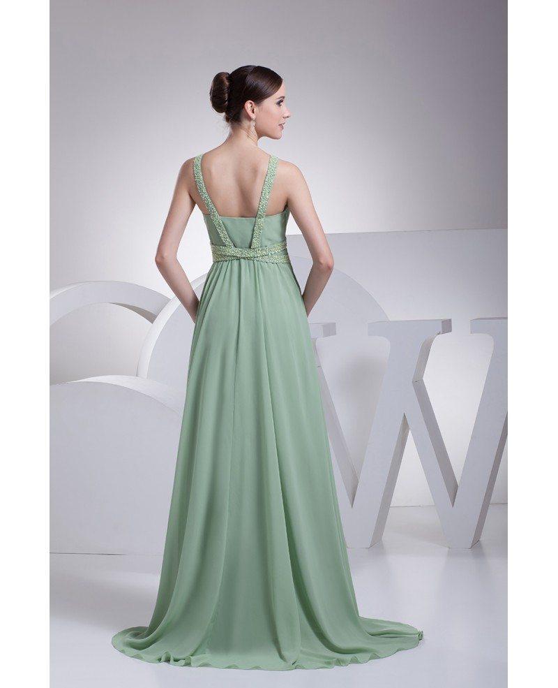 Grey Long Chiffon Prom Gowns
