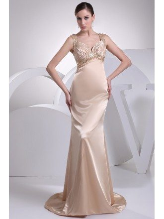 Beaded Straps Long Empire Waist Sheath Formal Dress with Train