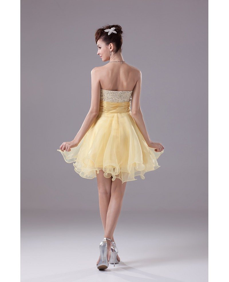 Sparkly Sequins Yellow Organza Short Prom Dress Op4380