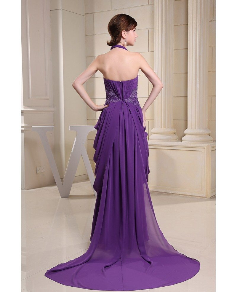 Chiffon Dressing Gown: Ball-gown Halter Sweep Train Chiffon Evening Dress With