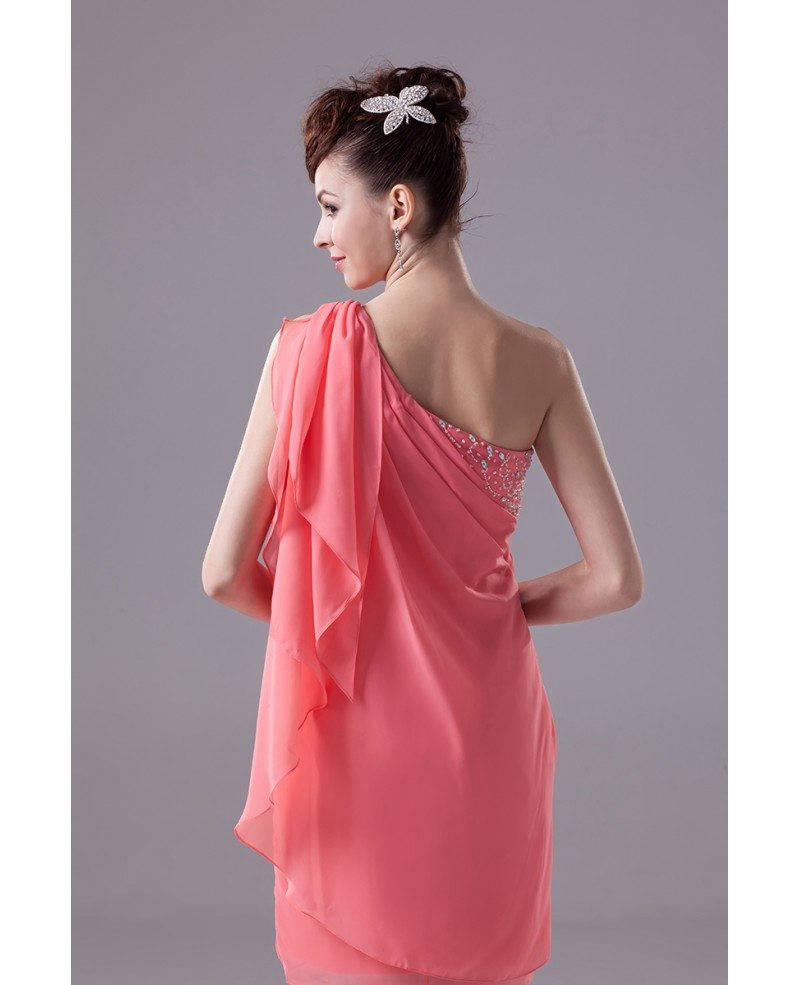Elegant one shoulder chiffon short bridal party dress for Elegant wedding party dresses