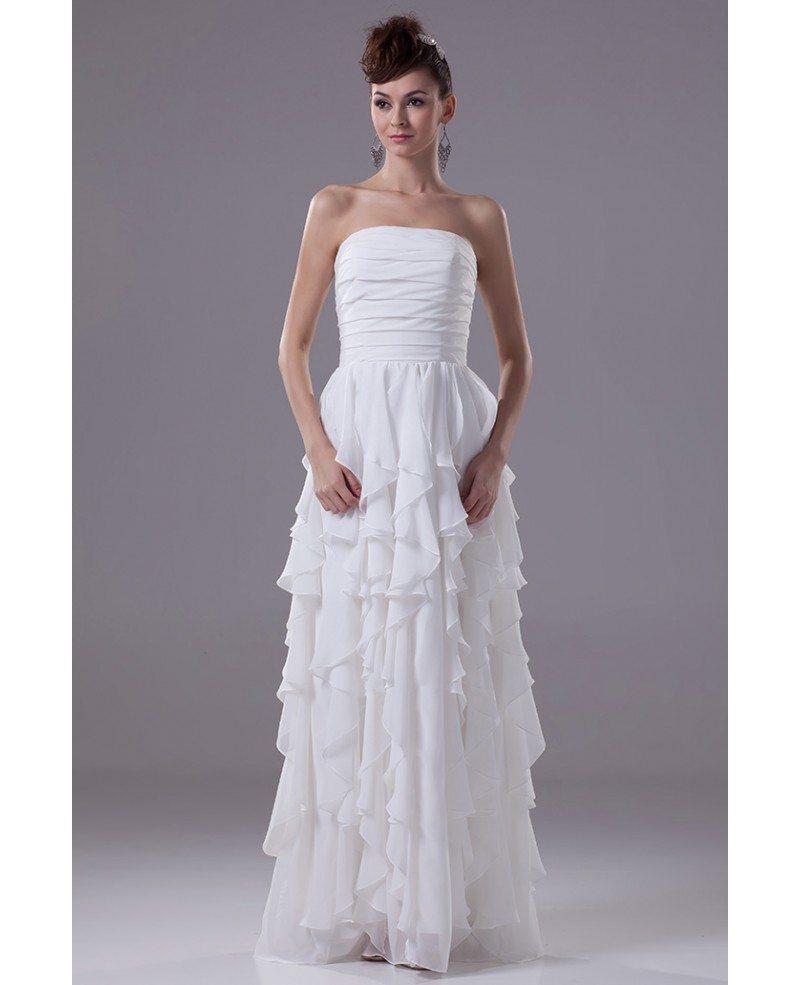 Strapless Cascading Ruffles Floor Length Chiffon Bridal