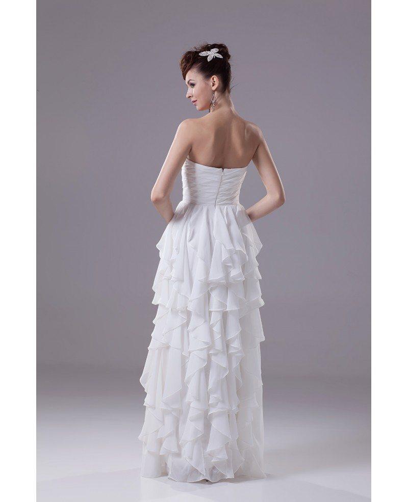 Strapless Cascading Ruffles Floor Length Chiffon Bridal Dress OP4385 1513