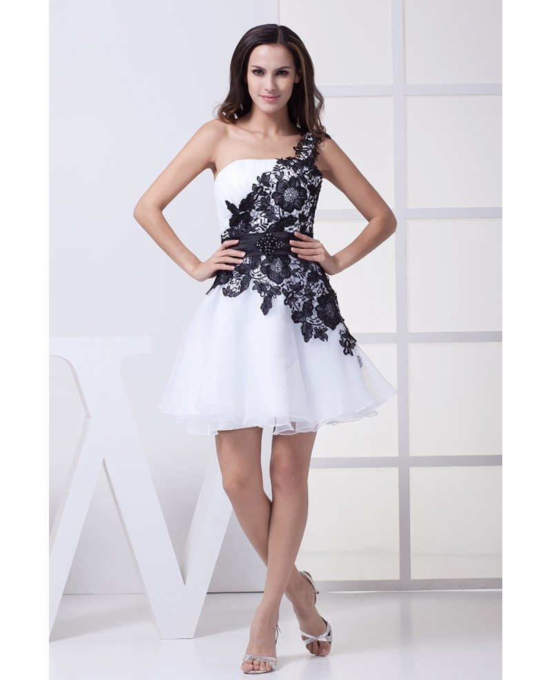 One Shoulder Lace Navy Blue And White Puffy Prom Dress