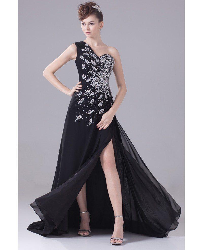 Long Formal Sequined One Shoulder Prom Dress with Split ... One Shoulder Black Prom Dress