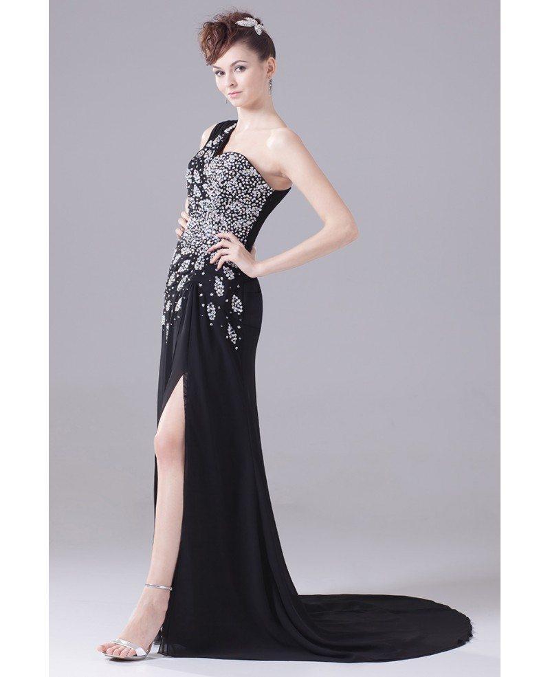 Long Formal Sequined One Shoulder Prom Dress With Split