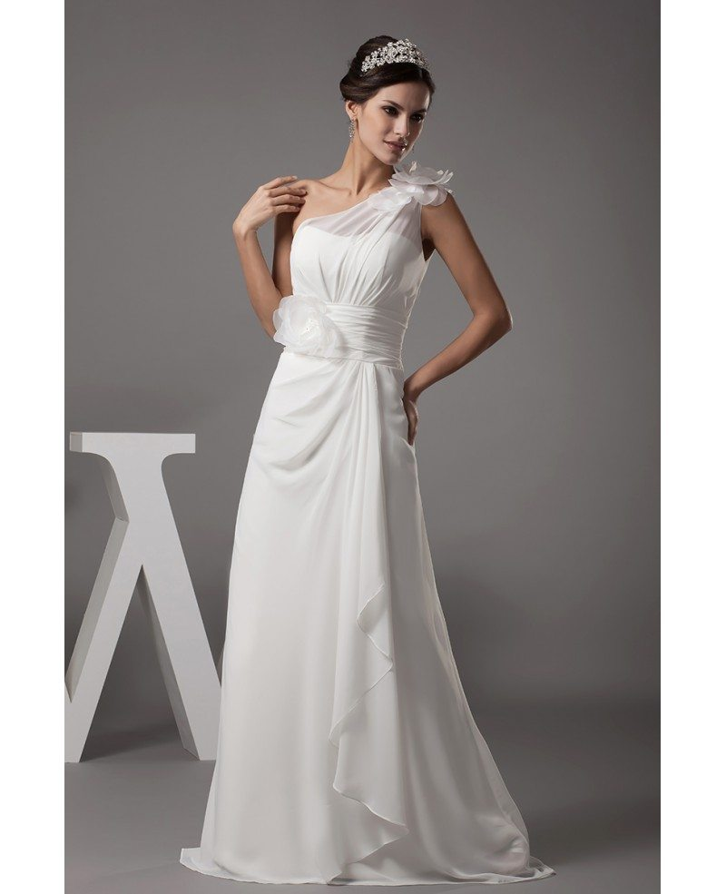 Floral Wedding Dress: Floral One Shoulder Floor Length Chiffon Wedding Dress