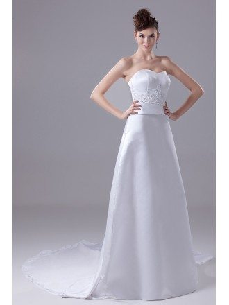 Beaded Sweetheart A-line White Satin Wedding Dress with Train