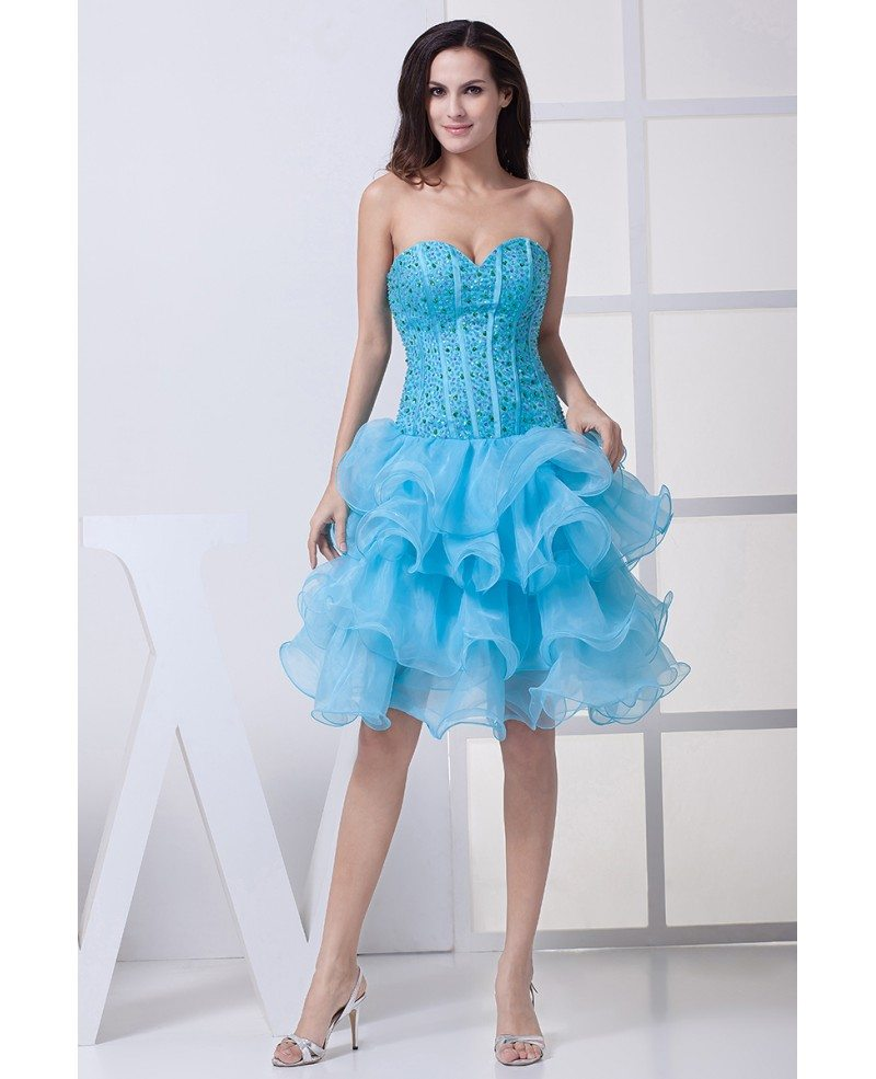 Classic Blue Sequined Organza Ruffles Sweetheart Prom Dress Short ...