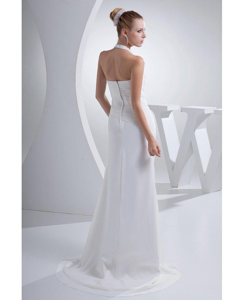 Chiffon Wedding Dresses: Beaded Long Halter Side Pleated Chiffon Beach Wedding