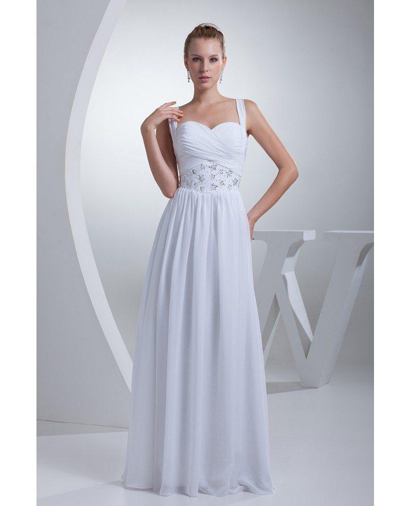 Chiffon Wedding Dresses: Pleated Sequins Long Chiffon White Wedding Dress With