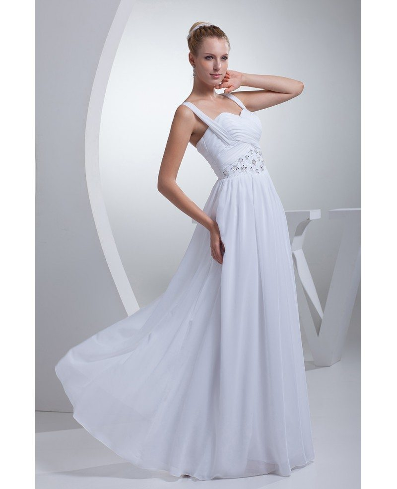 Pleated Sequins Long Chiffon White Wedding Dress With