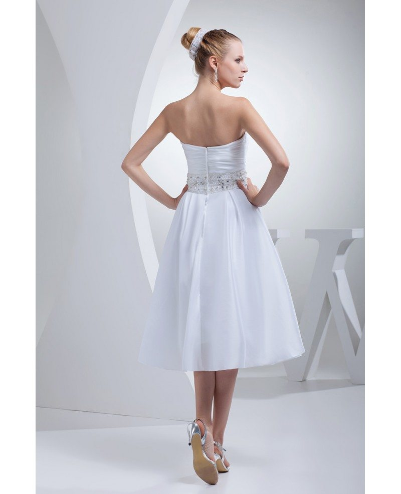 Simple tea length wedding dresses for older bride beaded for Simple tea length wedding dresses