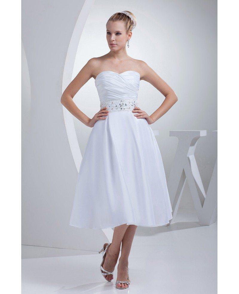Popular Wedding Gowns: Simple Tea Length Wedding Dresses For Older Bride Beaded