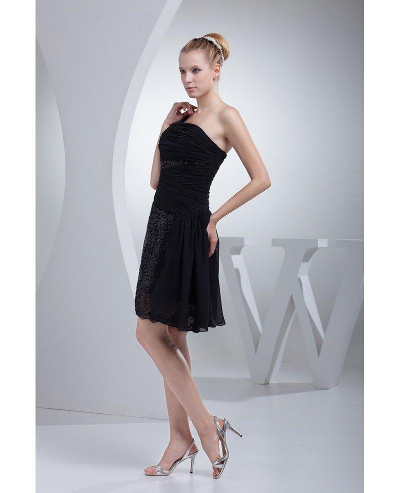 Little Black Lace One Strap Short Prom Dress Op4421 119