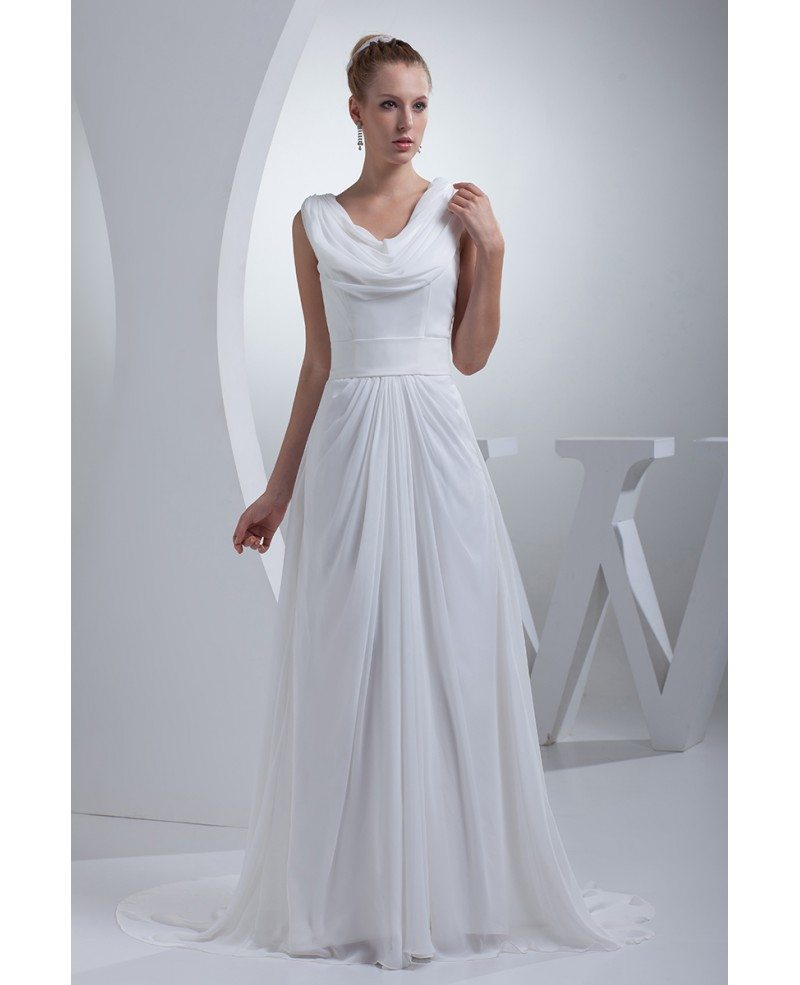 Modest long chiffon a line wedding dress custom op4422 for Modest a line wedding dresses