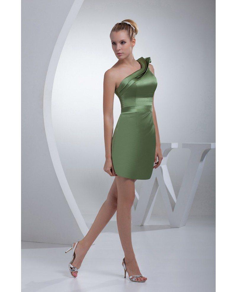 Sage Green Classic Pleated One Shoulder Mini Short Bridesmaid Dress ...