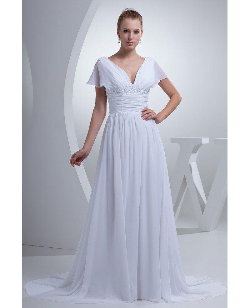 V neck long white chiffon elegant wedding dress with for White chiffon wedding dress
