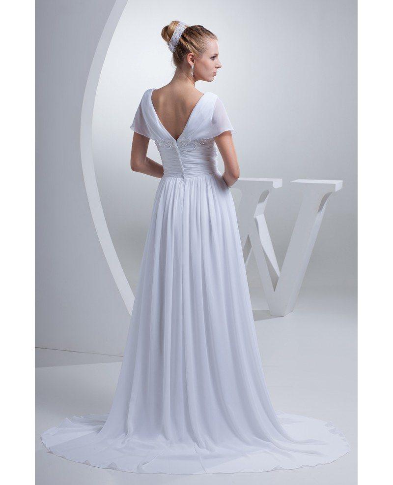 V Neck Long White Chiffon Elegant Wedding Dress With